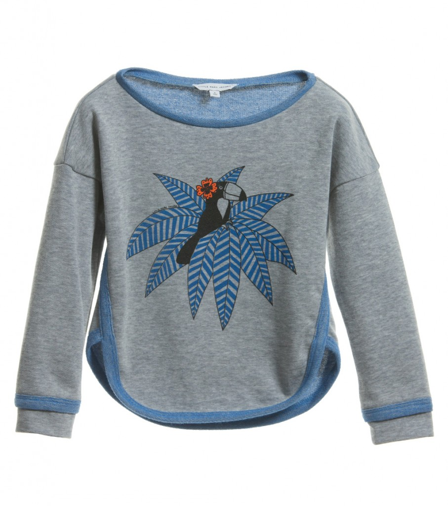 Little Marc Jacobs spring 2015 girl grey and blue sweatshirt