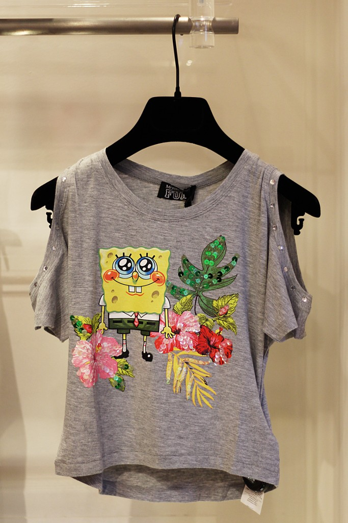 Monnalisa Fun girls grey tank top with Spongebob spring 2015