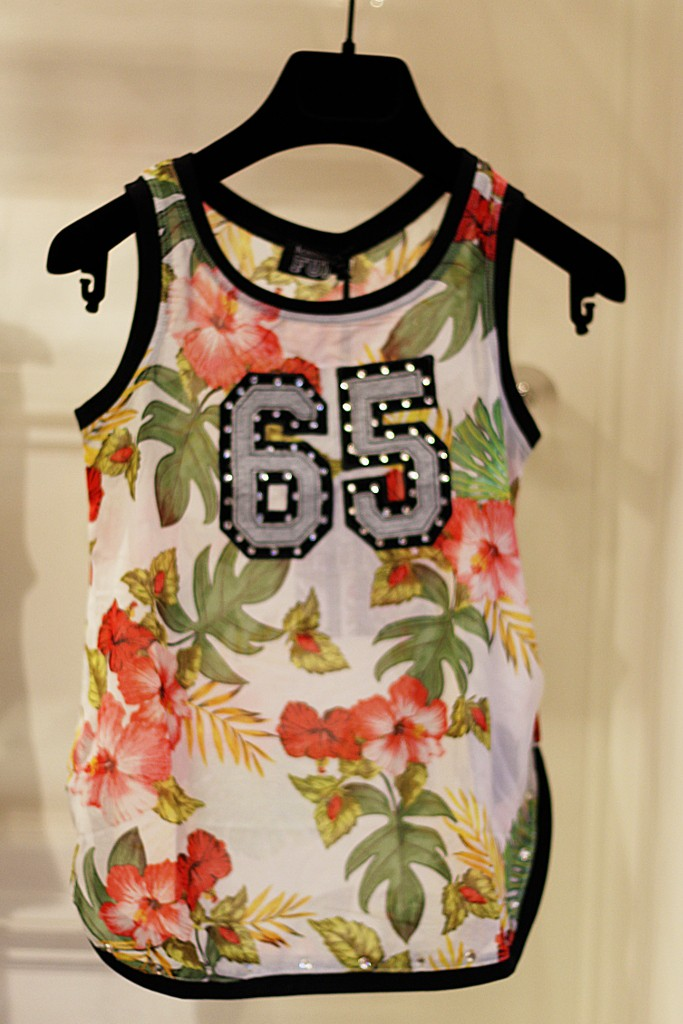 Monnalisa floral print tank top with number 65
