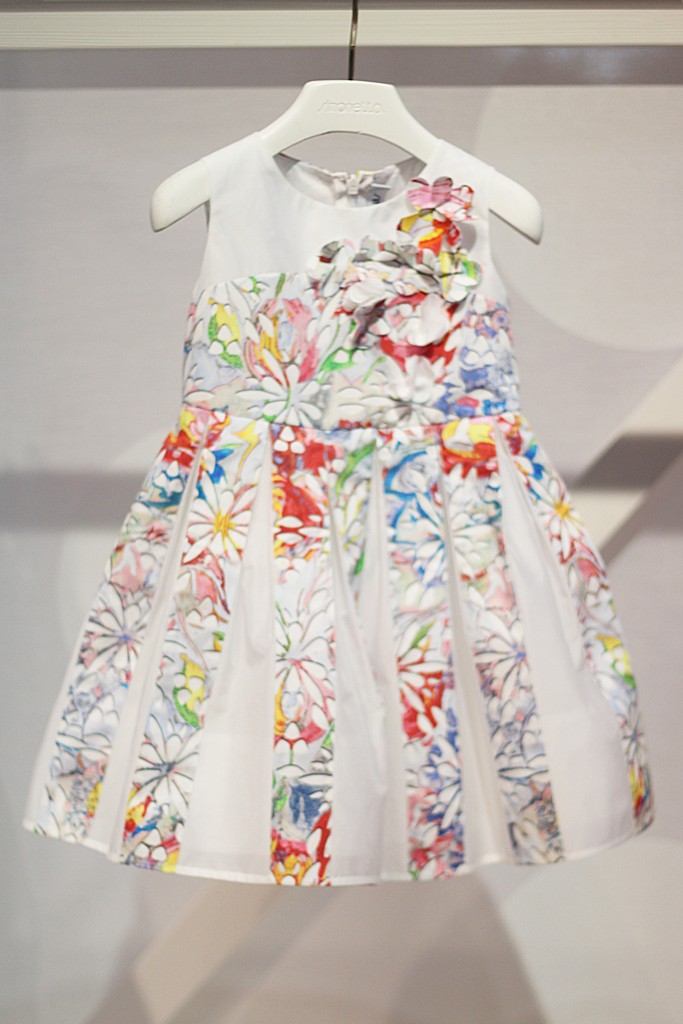 Simonetta white dress with floral print for spring 2016