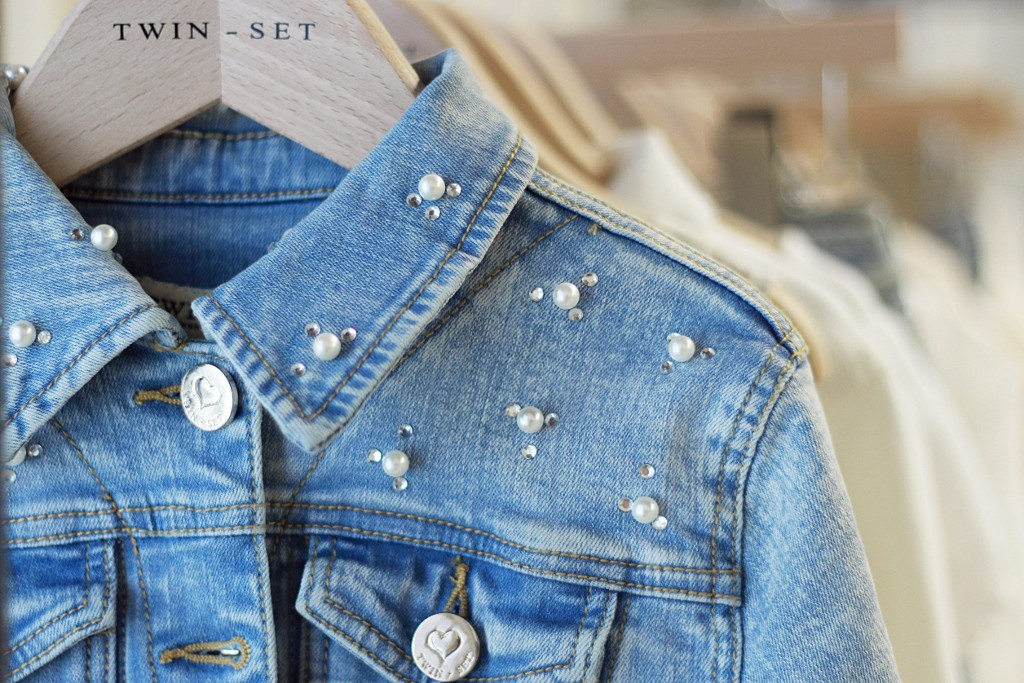 Twin-set spring 2016, jeans jacket with pearls and rhinestones