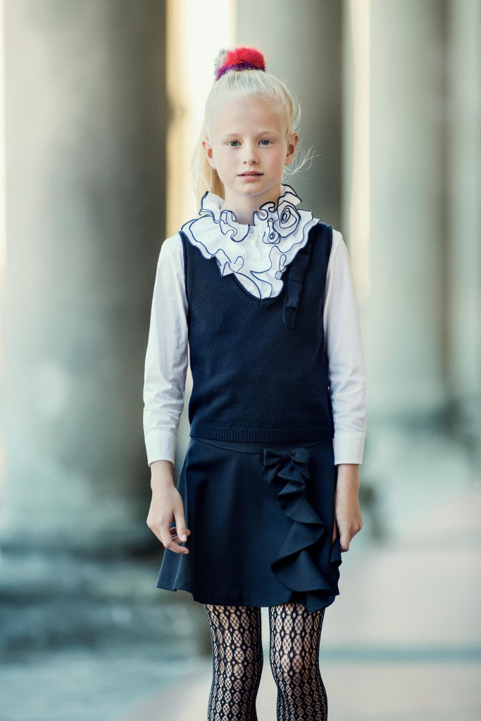 Aletta back to school 2015 - blue skirt and vest