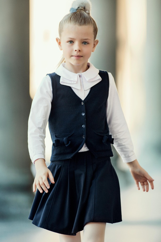 Aletta back to school 2015 blue pleated skirt with blue vest