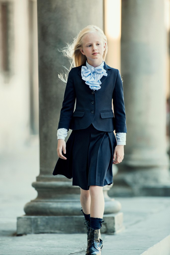 Aletta back to school 2015 blue skirt with matched jacket