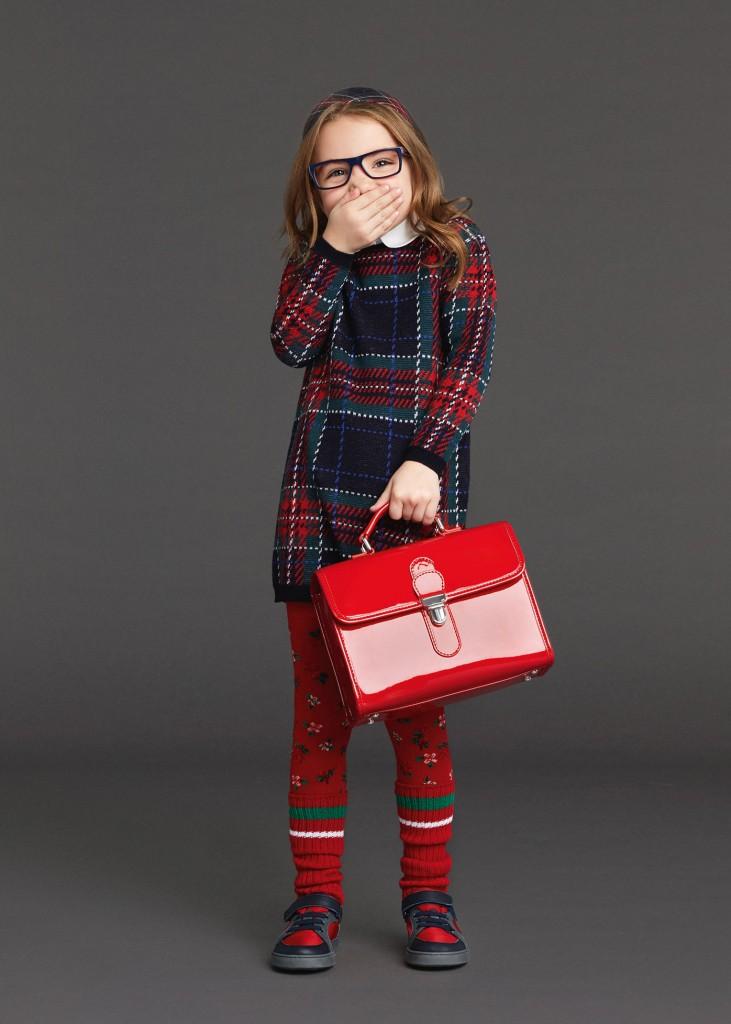 Dolce & Gabbana back to school 2015 knit dress tartan print
