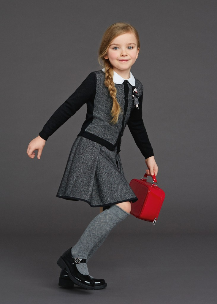 Dolce & Gabbana back to school 2015 girl grey outfit