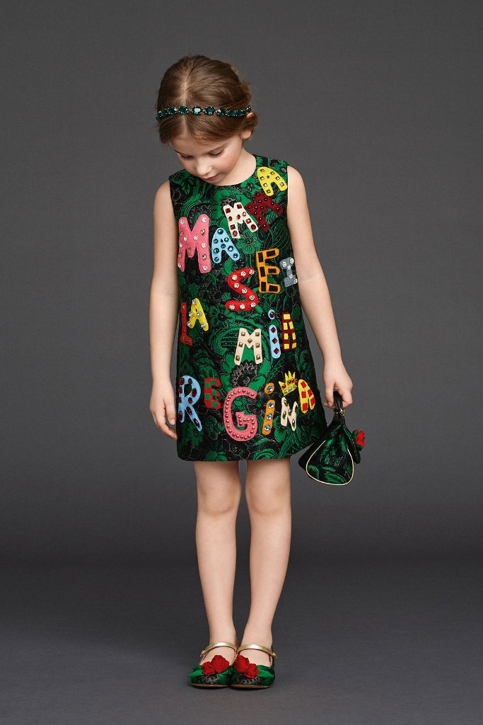 Dolce & Gabbana fall winter 2015 Viva la Mamma green dress