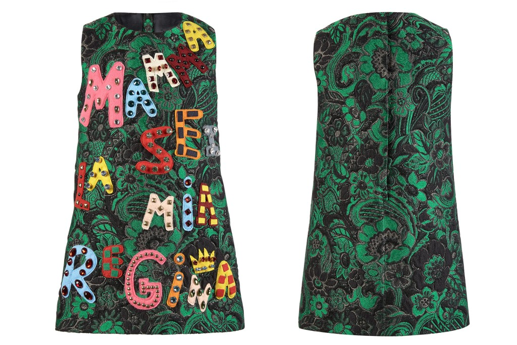 Dolce & Gabbana fall winter 2015, green sleeveless mini-me dress
