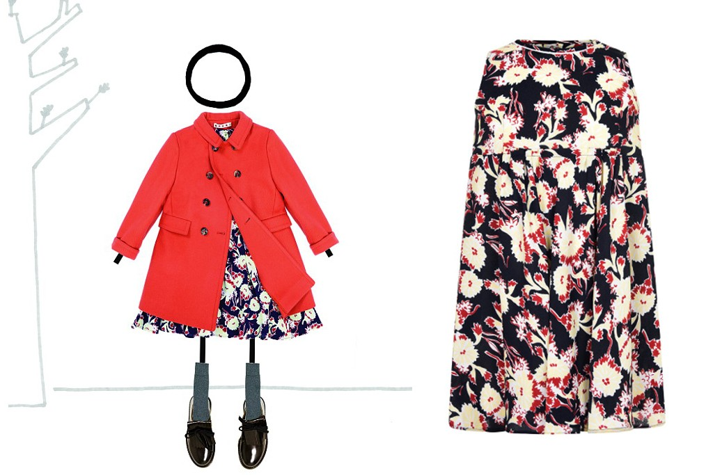 Marni fall winter 2015, mini-me outfit with contrasting flowers