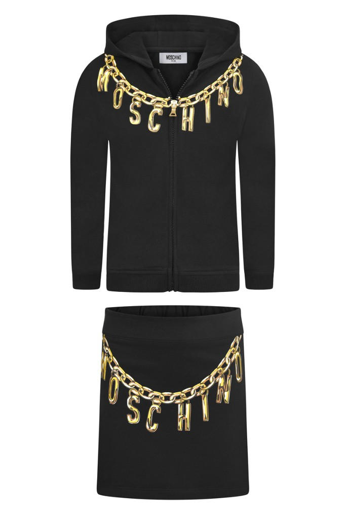 Moschino fall winter 2015, black mini-me softisticated outfit