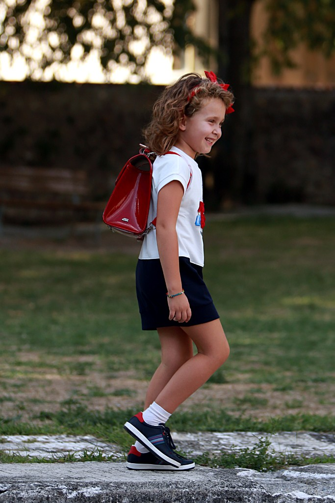 Monnalisa back to school 2015 ivory and blue dress