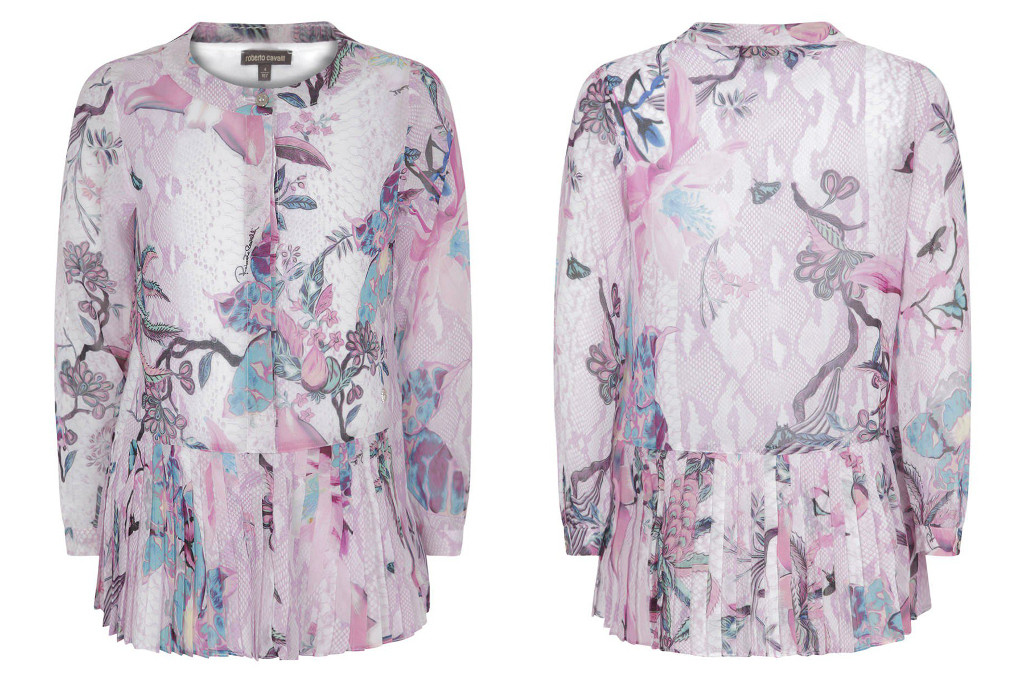 Roberto Cavalli Winter 2015 silk blouse with a pink floral print