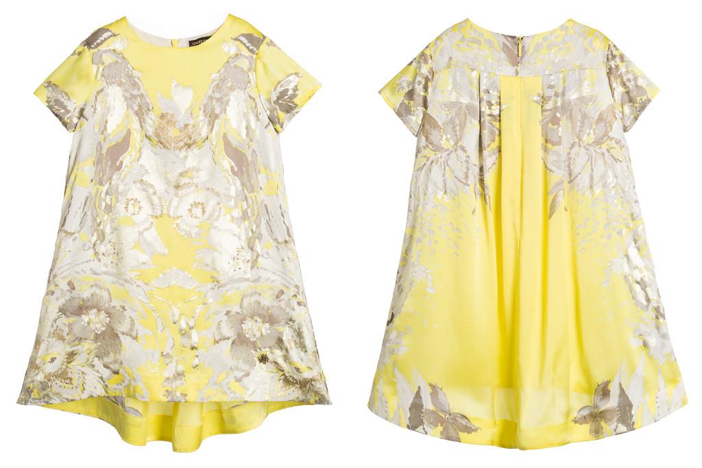 Roberto Cavalli Winter 2015 yellow dress with silver flowers