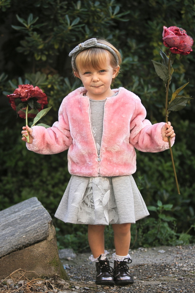 Elsy baby fall winter 2015 pink artificial fur jacket matched with grey dress with roses