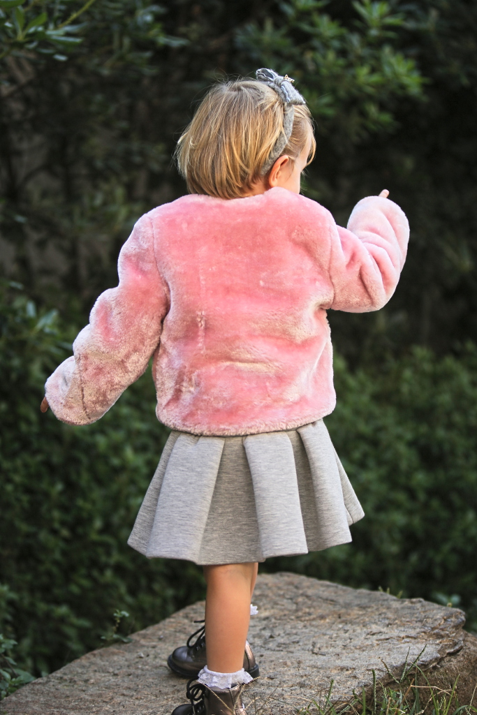 Elsy baby fall winter 2015 pink fur jacket with dusty grey dress