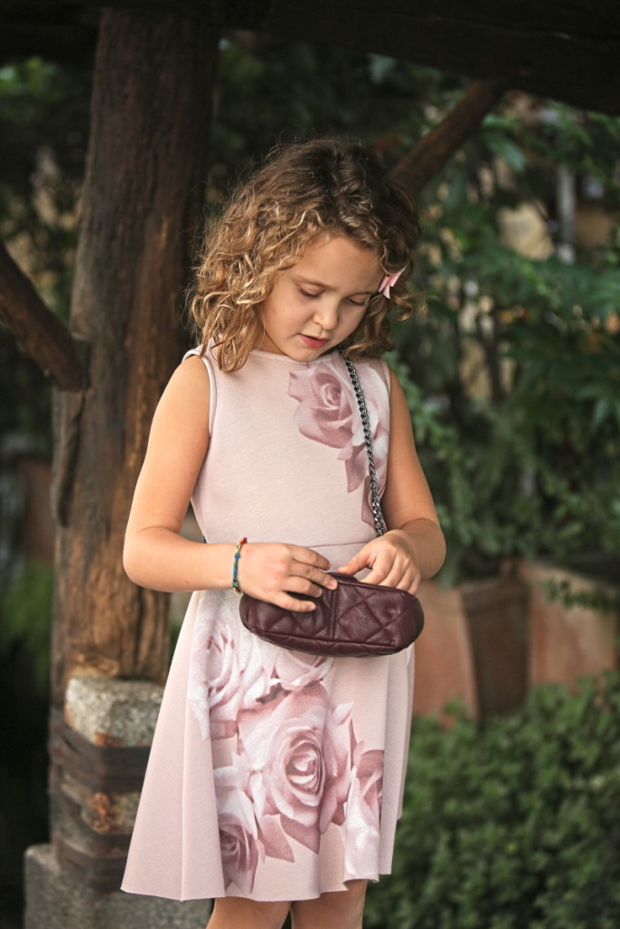 Elsy girl fall winter 2015 pink dress with large roses