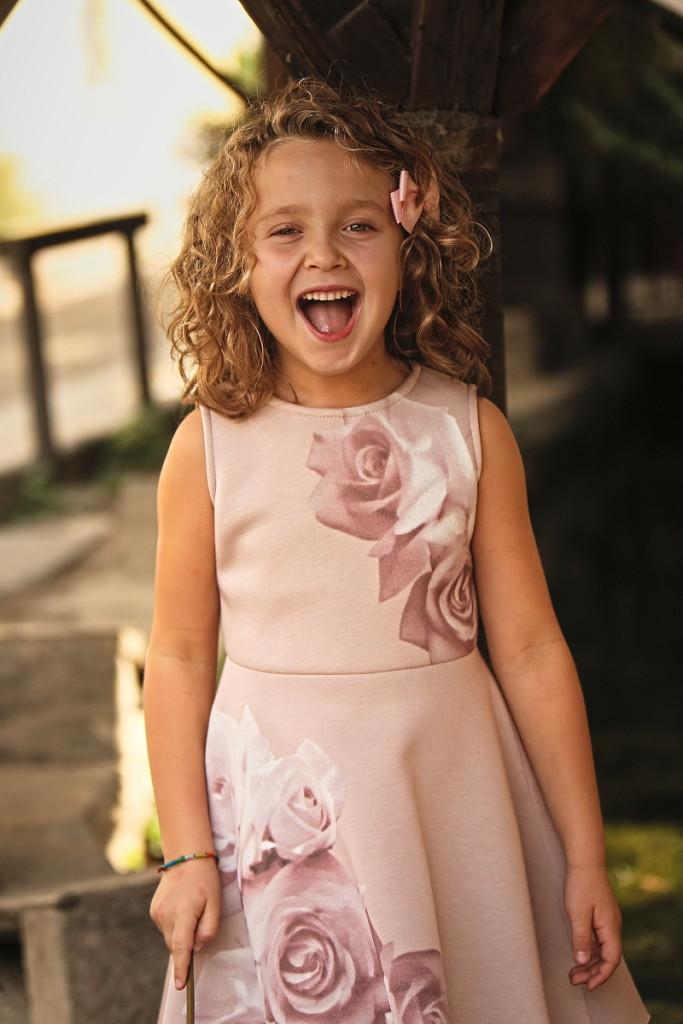 Elsy girl fall winter 2015 pink dress with white and pink roses
