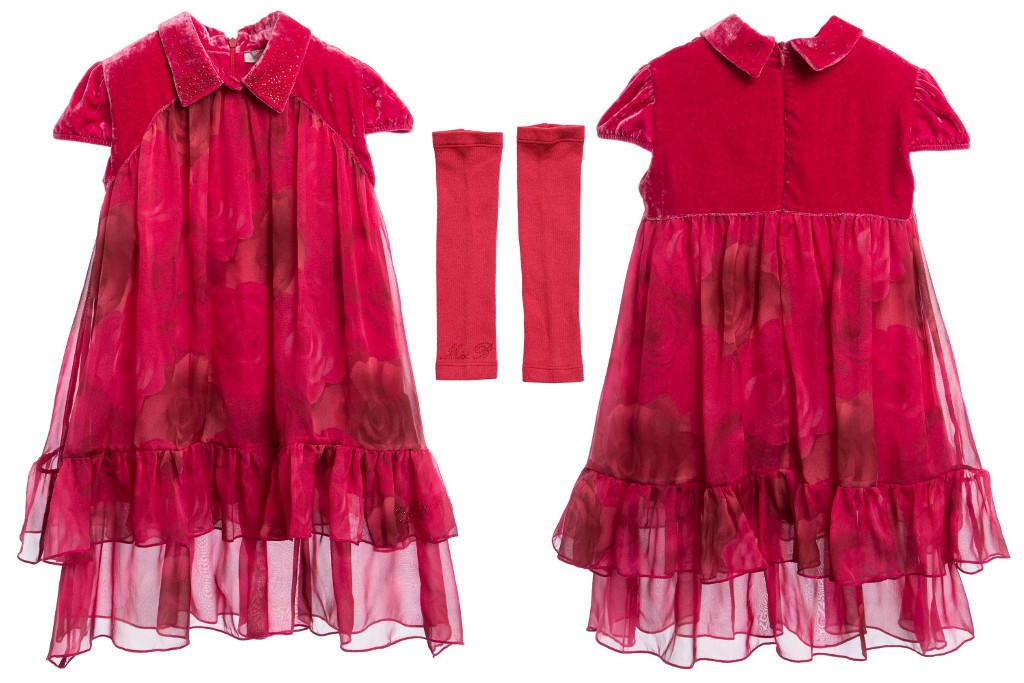 Miss Blumarine Winter 2015 dark pink silk dress with rose print