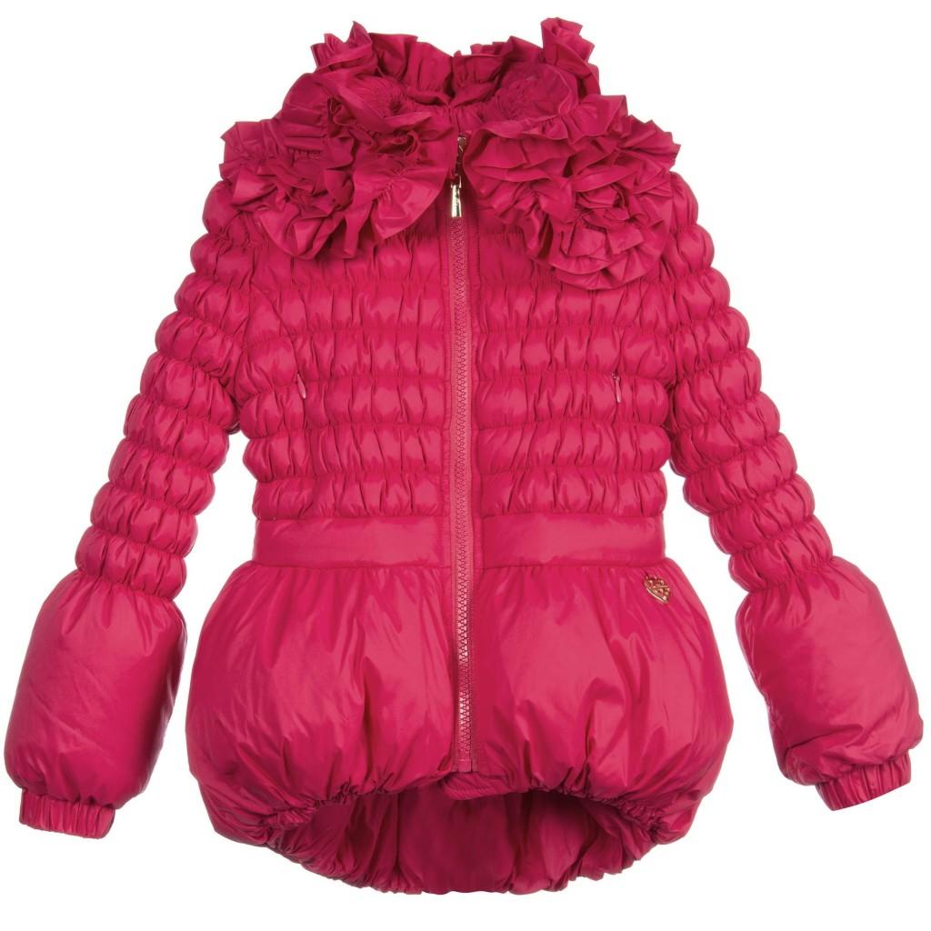 Miss Blumarine Winter 2015 dark pink down padded coat