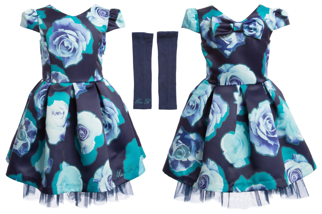 Miss Blumarine Winter 2015 - Navy blue dress with big roses