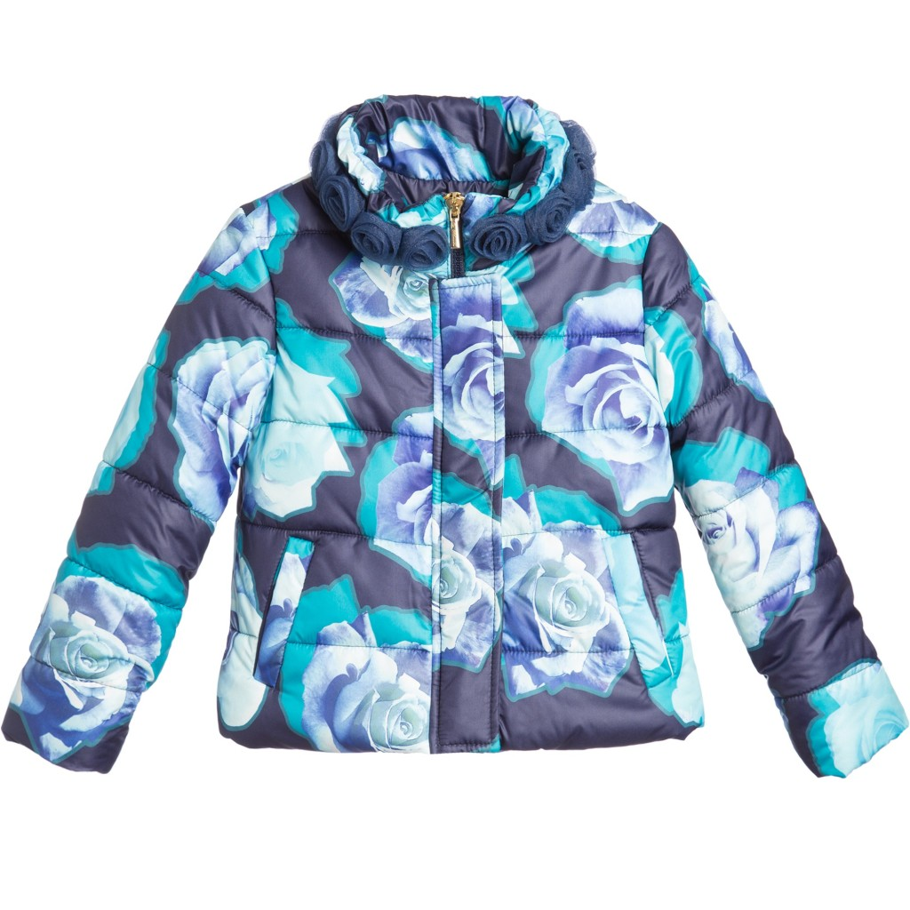 Miss Blumarine Winter 2015 blue down padded coat with rose print