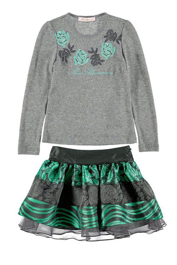 Miss Blumarine Winter 2015 grey sweater and skirt