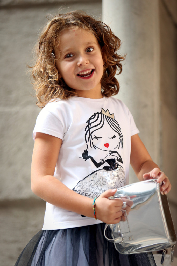 Simonetta back to school 2015 white t-shirt with princess