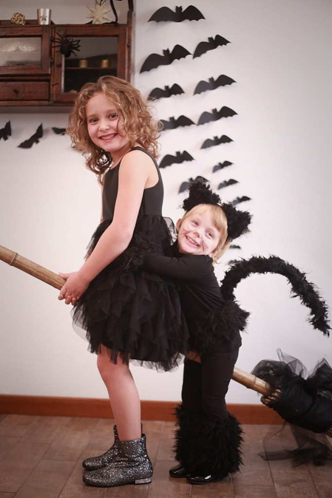 Halloween kids costumes witch and cat