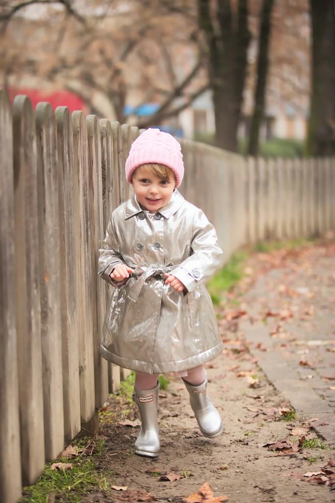 Catya winter 2015 pink hat with Simonetta silver raincoat