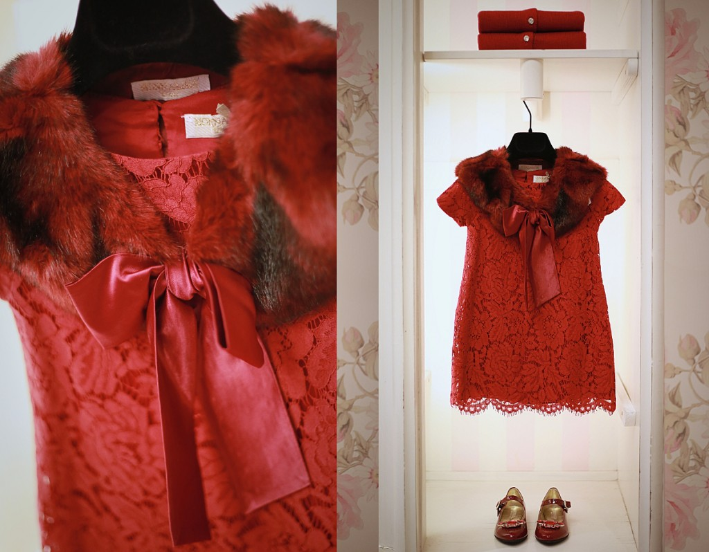 Monnalisa winter 2015 red lace dress cmbined with a red fur collar