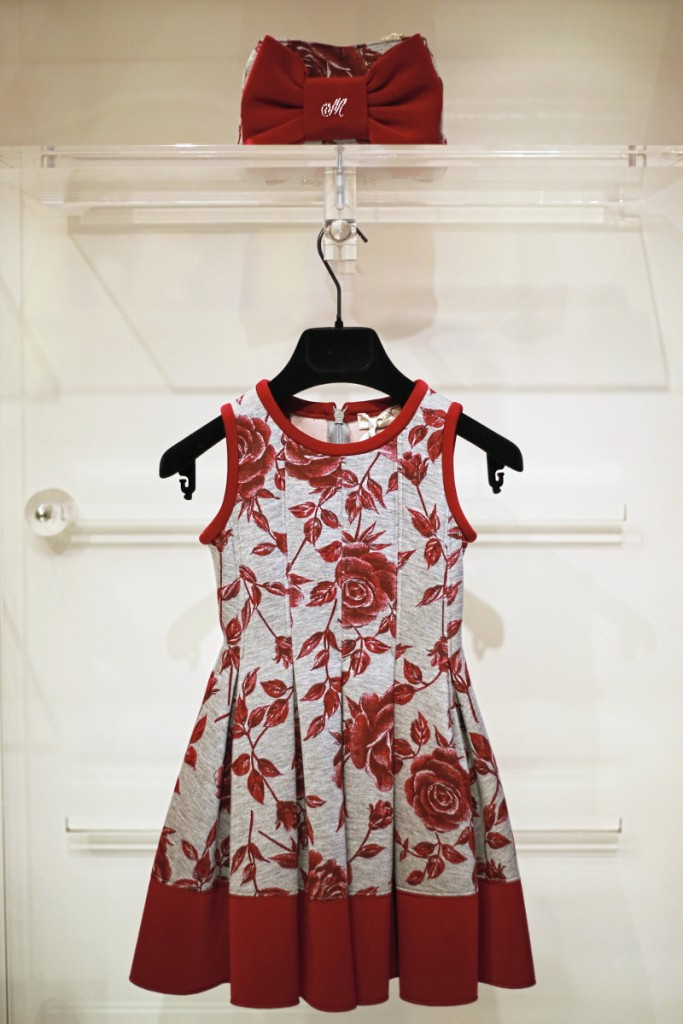 Monnalisa winter 2015 grey and red dress with flowers