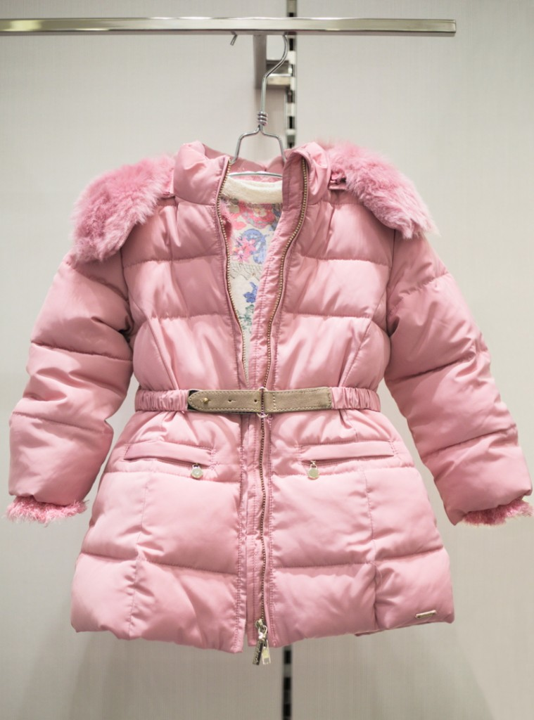 Sarabanda winter 2015 pink coat with hood