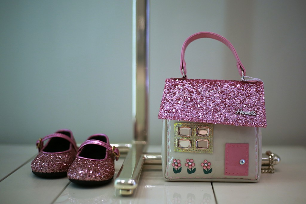 Simonetta winter 2015 glittering pink shoes and bag