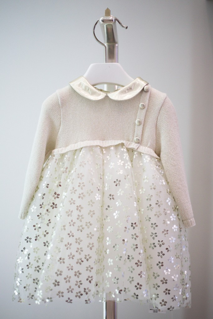 Simonetta winter 2015 white and gold dress