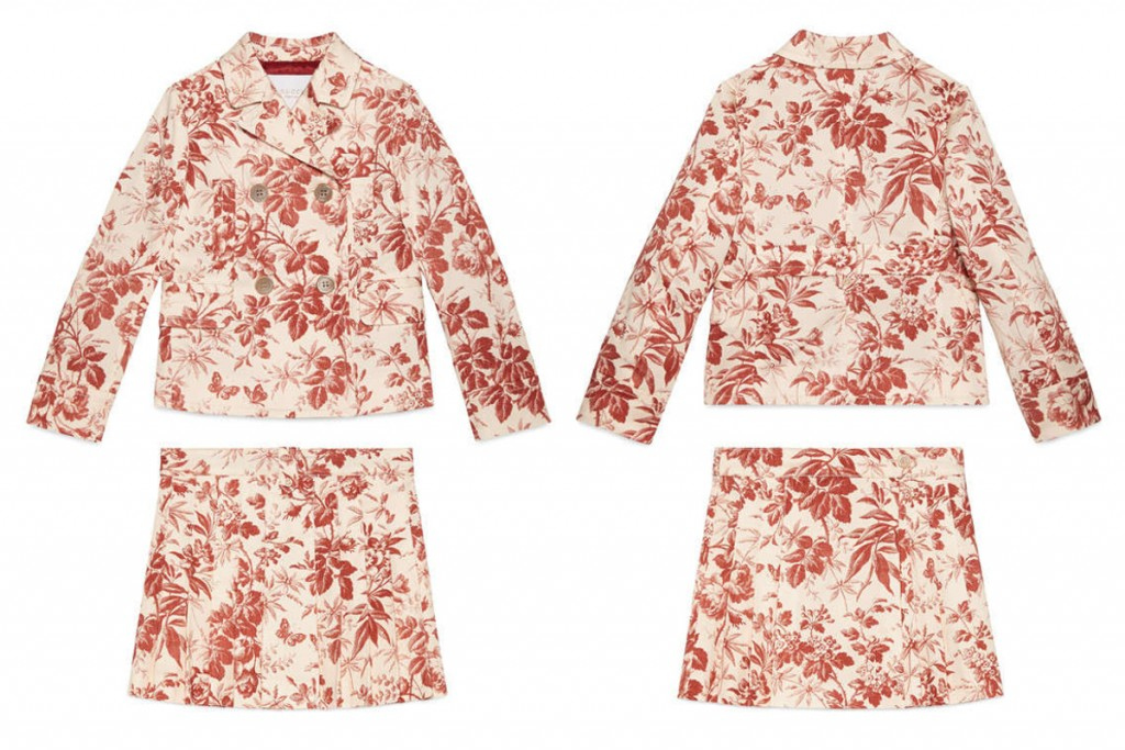 Gucci summer 2016 girls beige jacket and skirts with cerise print