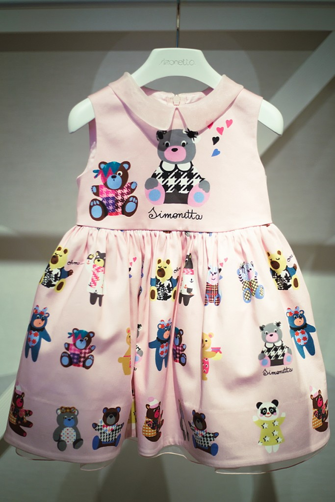 Pitti Bimbo 82 Simonetta pink dress with bears print