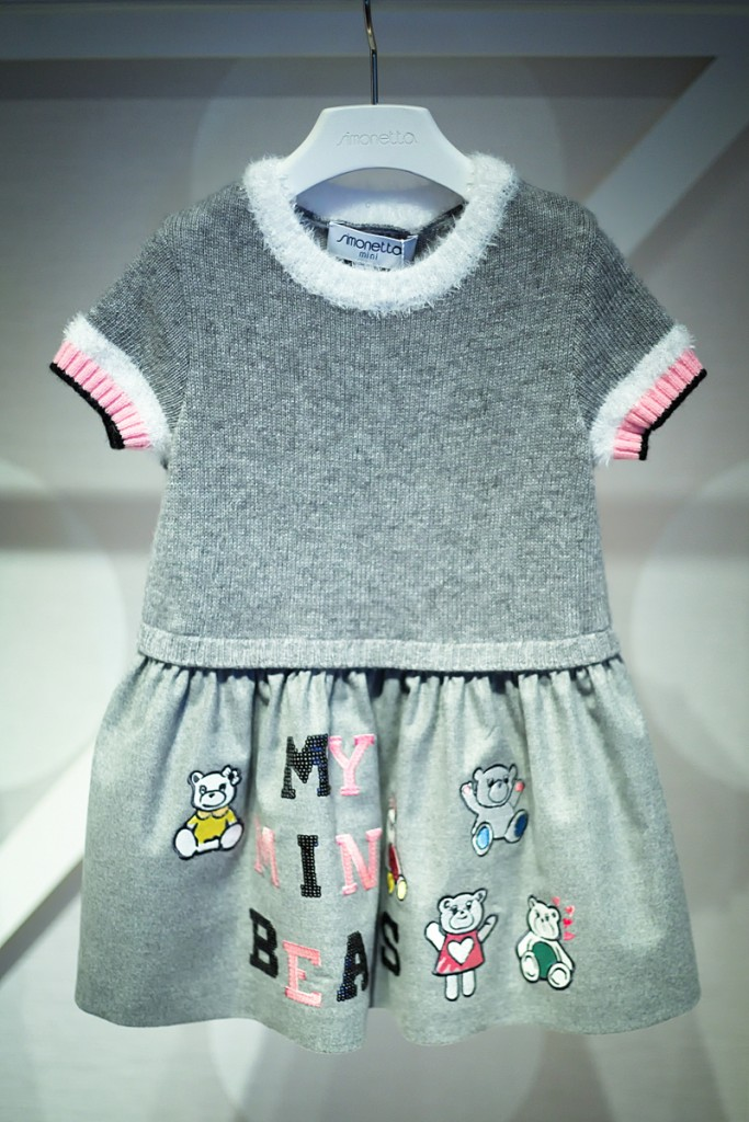 Pitti Bimbo 82 Simonetta grey dress with bears and letters