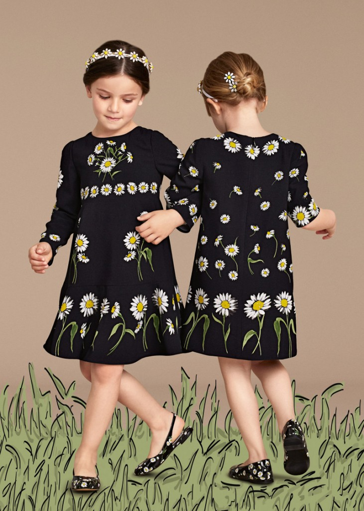 Dolce and Gabbana summer 2016 children black outfits with daisies