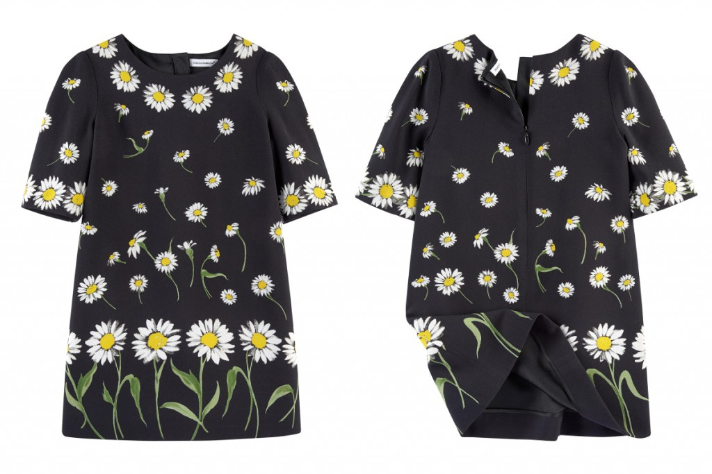 Dolce and Gabbana summer 2016 girls black dress with daisies