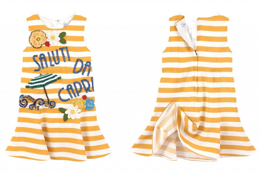 Dolce and Gabbana summer 2016 yellow and white striped dress