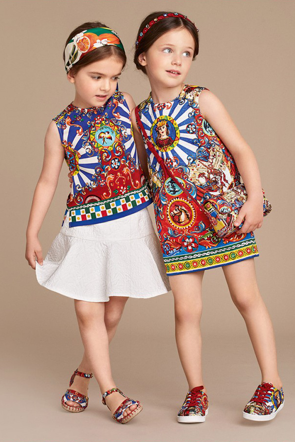 "Dolce and Gabbana summer 2016 children ""Carretto Siciliano"" dresses"