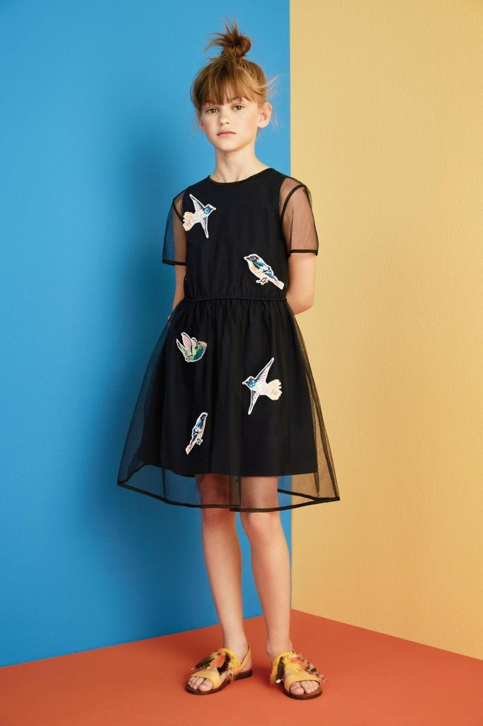 MSGM kids summer 2016 black dress with birds