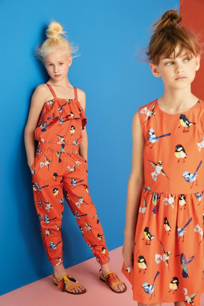 MSGM kids summer 2016 orange dresses with birds