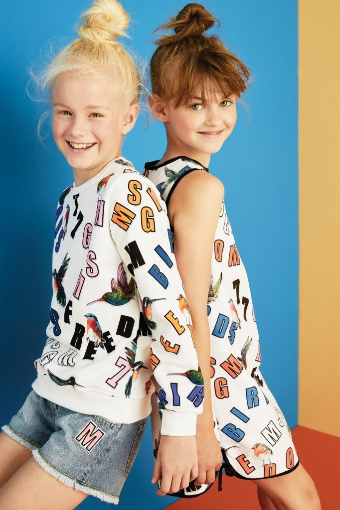 MSGM kids summer 2016 white outfits with lettering and birds