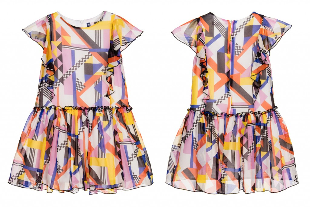 MSGM kids spring summer 2016 silk dress with geometric print