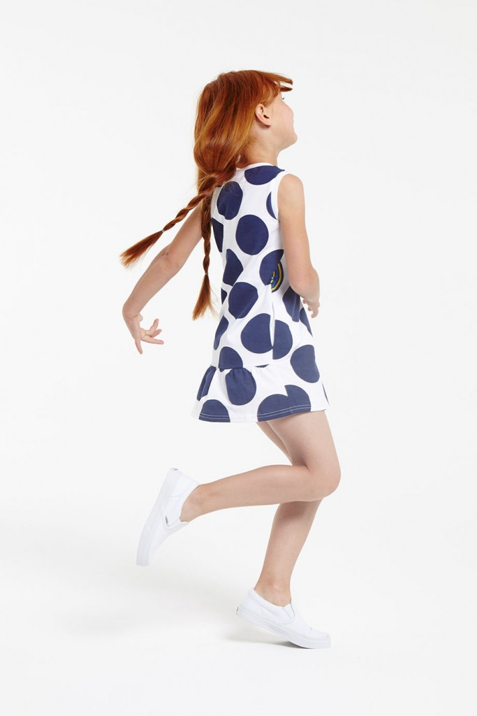 Kenzo kids spring summer 2016 dress with blue polka dots