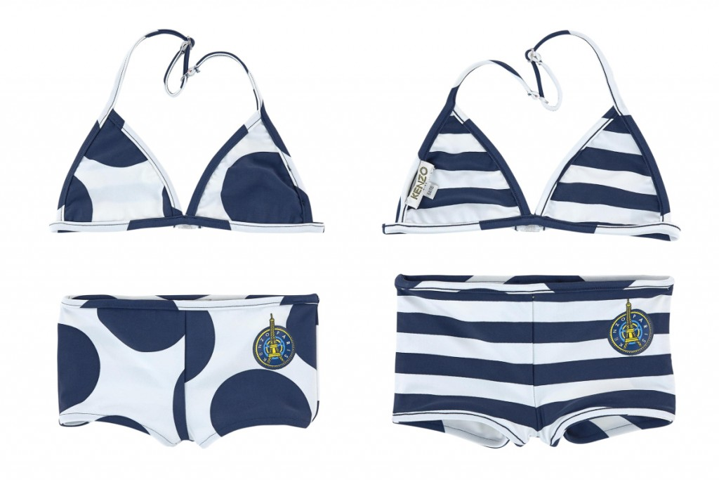 Kenzo kids spring summer 2016 white and blue reversible bikini