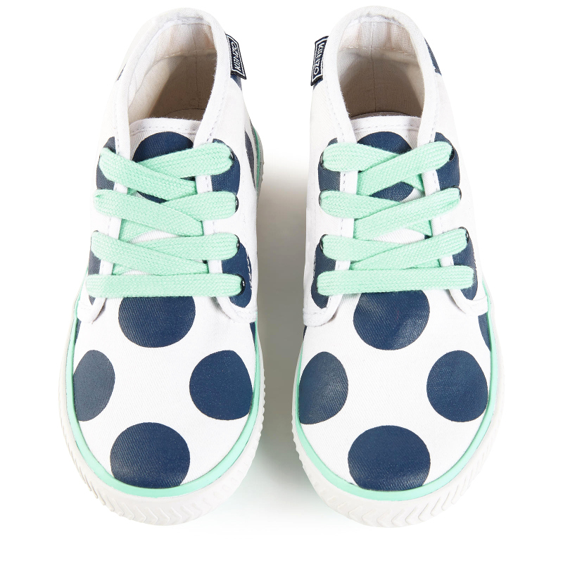 Kenzo kids spring summer 2016 white shoes with blue polka dots