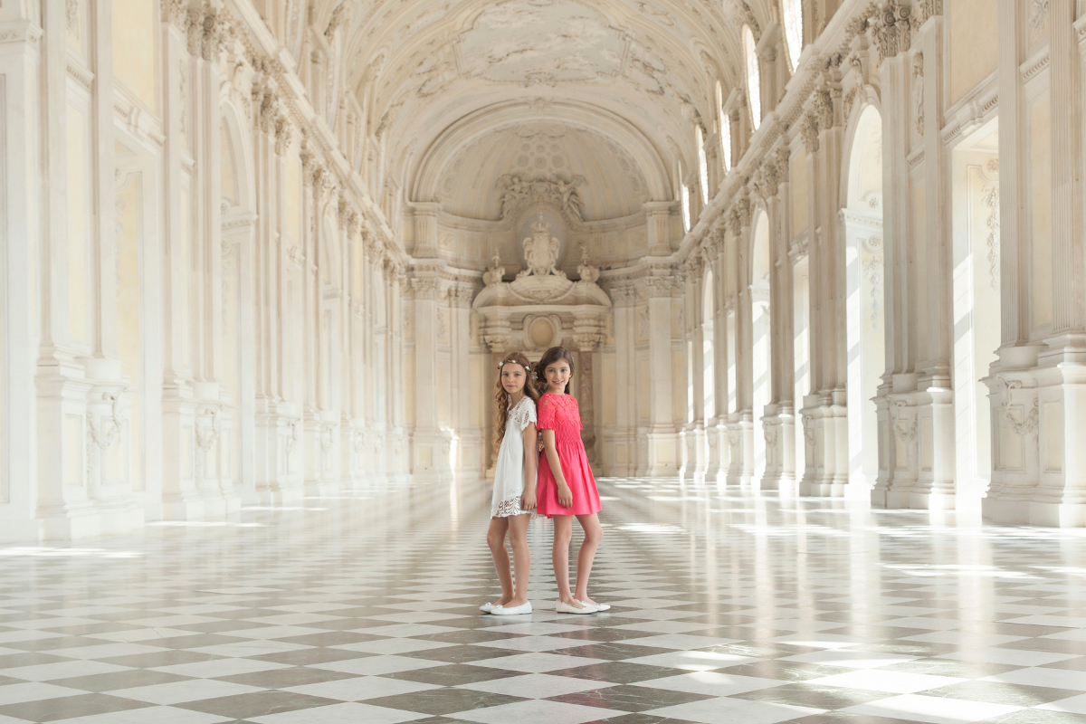 Miss Blumarine spring summer 2017 during a visit to the Reggia di Venaria Reale