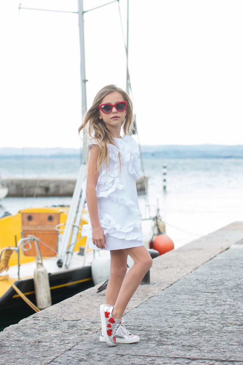 Simonetta white taffeta dress from ss19 at lake Garda